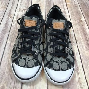 Coach Barrett Black Gray Signature Sneaker Shoe